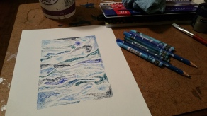 Staedtler watercolour pencils & Caran d'Ache Neocolor II water-soluble wax pastels (before water)
