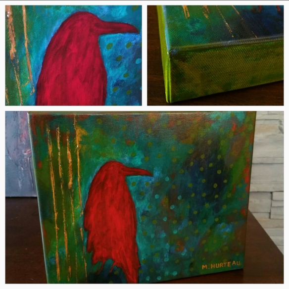"Red Raven hand embellished prints on canvas 10""x12"" $320"